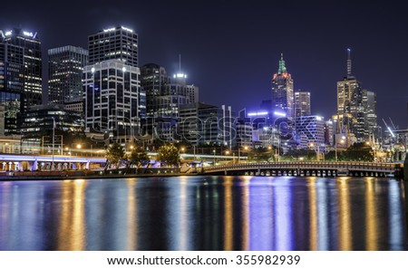 Melbourne city night Yarra river light reflection - stock photo