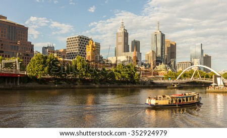 Melbourne City Skyline Cityscape from Southbank and Ferry, Australia