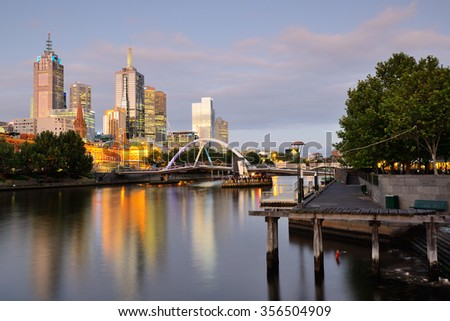 Melbourne City urban scape by Yarra River - stock photo