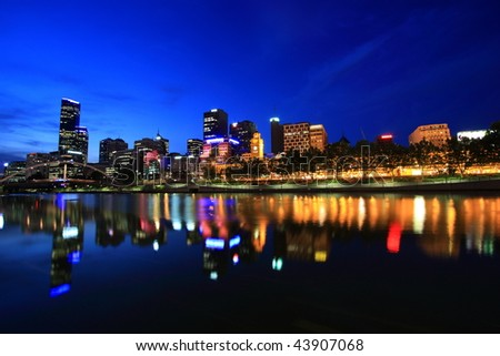 Melbourne City Waterfront Panorama Skyline - stock photo