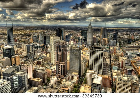 Melbourne cityscape in HDR; - stock photo