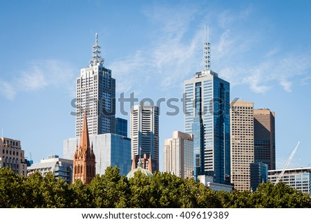 Melbourne Downtown CBD Skyline, view across Yarra river, Australia