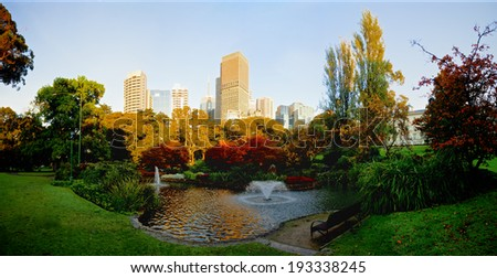 melbourne during a beautiful autumn morning - stock photo