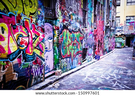 MELBOURNE - FEB 9: Street art by unidentified artist. Melbourne's graffiti management plan recognises the importance of street art in a vibrant urban culture - February 9, 2008 in Melbourne, Australia - stock photo