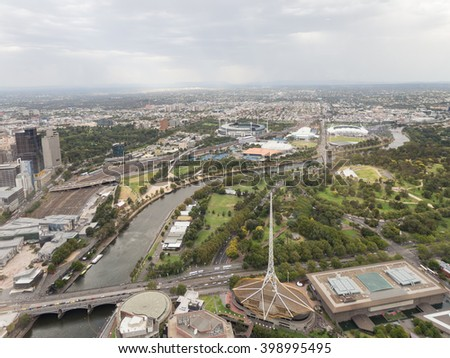 Melbourne - February 23, 2016: Aerial view of the beautiful city of Melbourne, the river Yarru and the Royal Botanical Garden February 23, 2016, Melbourne, Australia