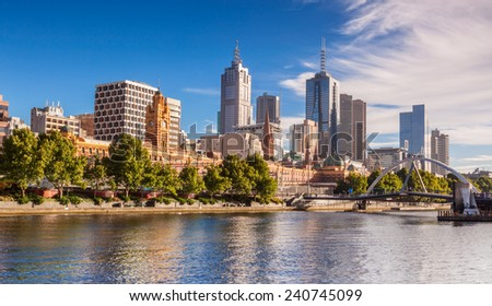 Melbourne from Southbank - stock photo