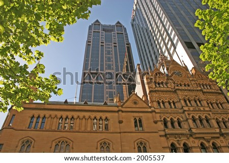 Melbourne is a strange mix of new and old (Melbourne, Victoria, Australia) - stock photo