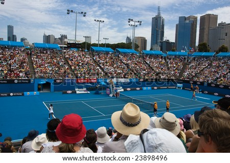 MELBOURNE- JANUARY 21: A full crowd at Margaret Court Arena watches Sania Mirza of India in the 2009 Australian Open at Melbourne Park on January 21, 2009.