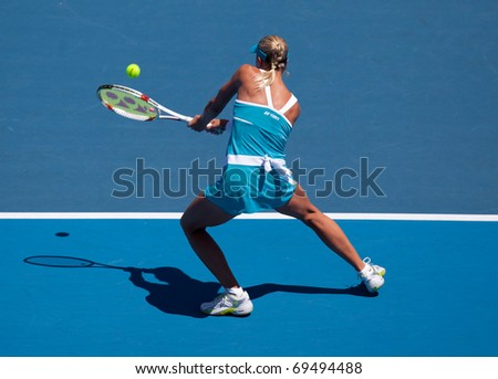 MELBOURNE - JANUARY 19: Andrea Hlavackova of the Czech Republic in her loss to Victoria Azarenka of Belarus  in the 2011 Australian Open - January 19, 2011 in Melbourne