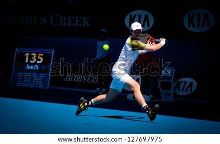 MELBOURNE - JANUARY 19: Andy Murray of Scotland in his third round win over Ricardas Berankis of Lithunia at the 2013 Australian Open on January 19, 2013 in Melbourne, Australia.