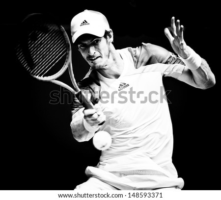 MELBOURNE - JANUARY 17: Andy Murray of Scotlandr in his second round win over Joao Sousa  of Portugal at the 2013 Australian Open on January 17, 2013 in Melbourne, Australia. - stock photo