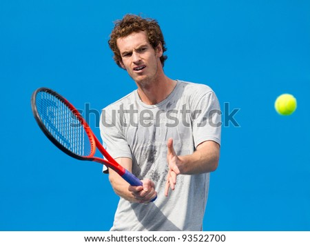 MELBOURNE - JANUARY 21: Andy Murray practices during  the 2012 Australian Open on January 21, 2012 in Melbourne, Australia.