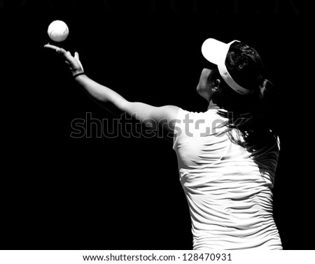 MELBOURNE - JANUARY 19: Ayumi Morita of Japan in her third round loss to Serena Williams at the 2013 Australian Open on January 19, 2013 in Melbourne, Australia. - stock photo