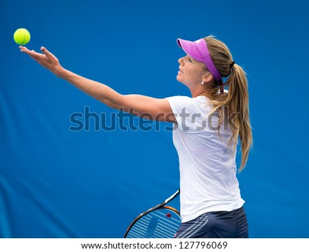 MELBOURNE - JANUARY 12: Daniela Hantuchova of Slovakia in a practice session in the leadup to the 2013 Australian Open on January 12, 2013 in Melbourne, Australia. - stock photo