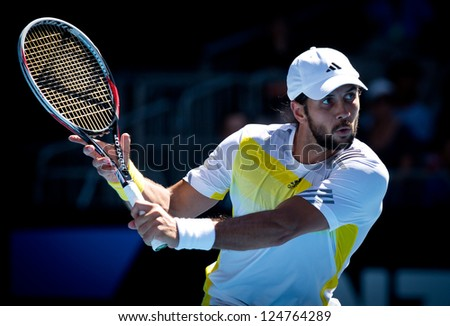MELBOURNE - JANUARY 14: Fernando Verdasco of Spain in his first round win over David Goffin of  Belgium at the 2013 Australian Open on January 14, 2013 in Melbourne, Australia.