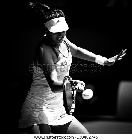 MELBOURNE - JANUARY 17: Garbine Muguruza of Spain in her second round loss to Serena Williams at the 2013 Australian Open on January 17, 2013 in Melbourne, Australia. - stock photo