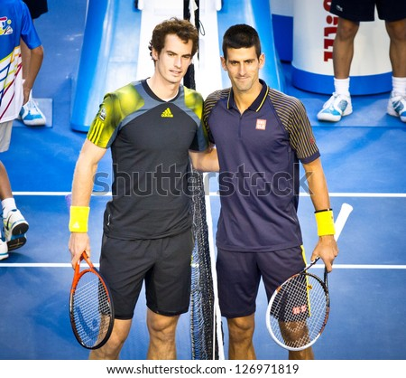 MELBOURNE - JANUARY 27: Novak Djokovic (R) of Serbia before his 2013 Australian Open Championship Final win over Andy Murray (L) of Scotland on January 27, 2013 in Melbourne, Australia. - stock photo