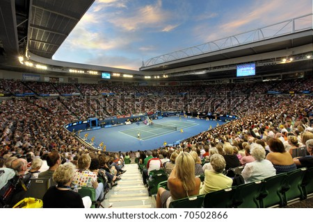 MELBOURNE - JANUARY 29: Rod Laver Arena during the 2010 Australian Open ladies final between Kim Clijsters and Li Na on January 29, 2011 in Melbourne, Australia - stock photo