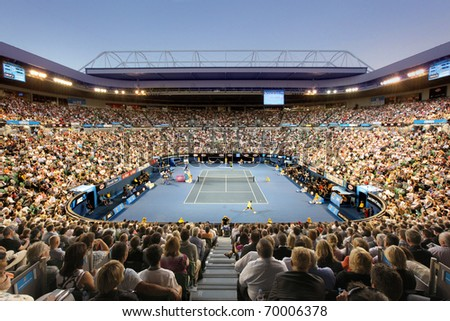 MELBOURNE - JANUARY 28: Rod Laver Arena during the semi final match between Andy Murray and David Ferrer on January 28, 2011 in Melbourne, Australia. - stock photo