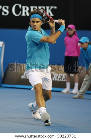 MELBOURNE - JANUARY 27: Roger Federer during his win over Nikolay Davydenko during a quarter final match in the 2010 Australian Open on January 27, 2010 in Melbourne - stock photo