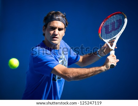 MELBOURNE - JANUARY 19: Roger Federer of Switzerland in a practice sessionat the 2013 Australian Open on January 19, 2013 in Melbourne, Australia. - stock photo
