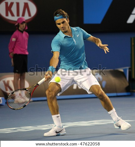 MELBOURNE - JANUARY 27: Roger Federer on his way to the 2010 Australian Open title  January 27, 2010 in Melbourne - stock photo