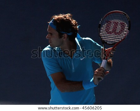 MELBOURNE - JANUARY 27: Roger Federer on his way to the final of the 2010 Australian Open on January 27, 2010 in Melbourne - stock photo