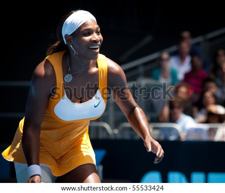 MELBOURNE - JANUARY 23: Serena Williams during her third round match against Carla Suarez Navarroof Spain during the 2010 Australian Open on January 23, 2010 in Melbourne, Australia - stock photo