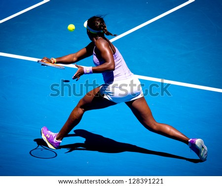 MELBOURNE - JANUARY 23: Sloane Stephens of USA in her quarter final win over Serena Williams of USA at the 2013 Australian Open on January 23, 2013 in Melbourne, Australia. - stock photo