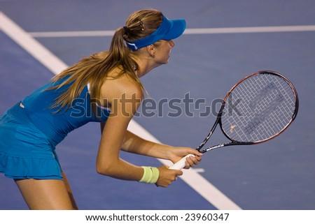 MELBOURNE - JANUARY 19: Slovakian tennis player Daniela Hantuchova, at the Australian Open on January 19, 2009 in Melbourne Australia. - stock photo