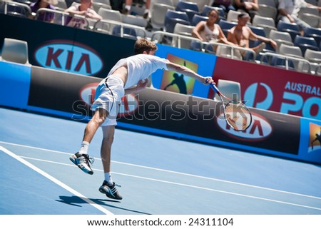 MELBOURNE- JANUARY 20: Tennis player Gilles Simon at the Australian Open on January 20, 2009 in Melbourne Australia.