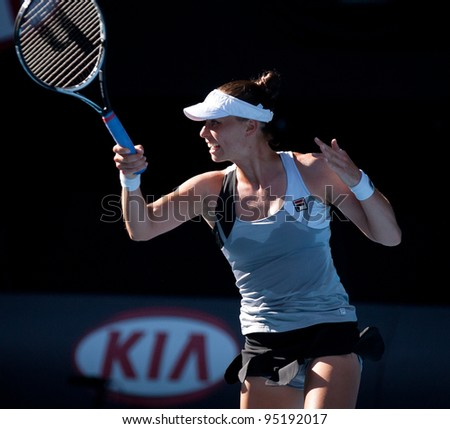 MELBOURNE - JANUARY 27:  Vera Zvonareva of Russia winning the doubles championship at the 2012 Australian Open on January 27, 2012 in Melbourne, Australia. - stock photo