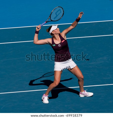 MELBOURNE - JANUARY 27: Vera Zvonareva of Russiain her semi final loss to  Kim Clijsters of Belgium  in the 2011 Australian Open on January 27, 2011 in Melbourne, Australia