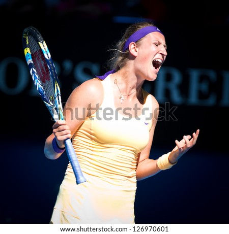 MELBOURNE - JANUARY 24: Victoria Azarenka of Belarus in her semir final lwin over Sloane Stephens of the USA at the 2013 Australian Open on January 24, 2013 in Melbourne, Australia.