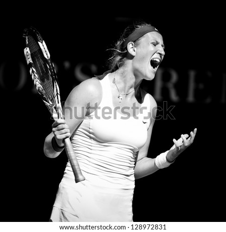 MELBOURNE - JANUARY 24: Victoria Azarenka of Belarus in her semir final lwin over Sloane Stephens of the USA at the 2013 Australian Open on January 24, 2013 in Melbourne, Australia. - stock photo