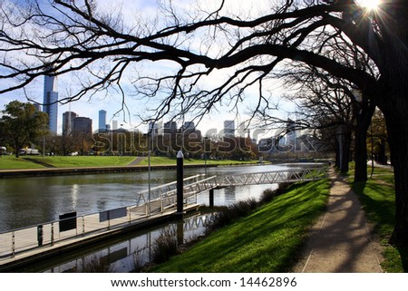 Melbourne looking toward the city centre from the banks of the Yarra River, Australia - stock photo
