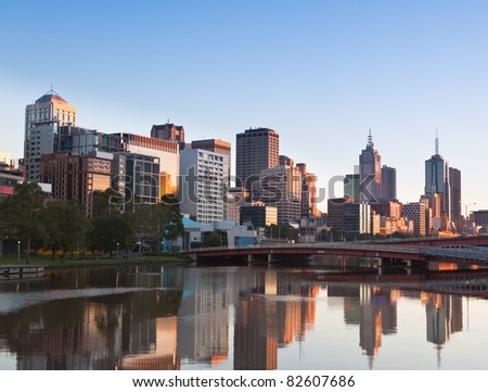Melbourne looking towards King Street Bridge and Batman Park from Southbank - stock photo