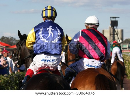 MELBOURNE - MARCH 13: Horses return to scale after the Australian Cup, won by Zipping at Flemington on March 13, 2010 - Melbourne, Australia. - stock photo