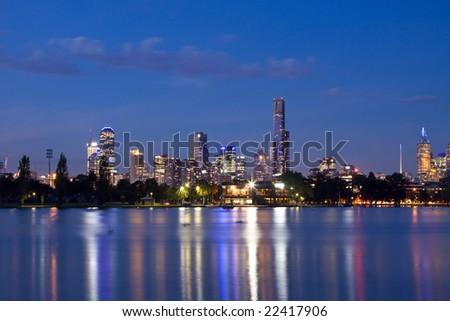 Melbourne night CBD panorama - stock photo