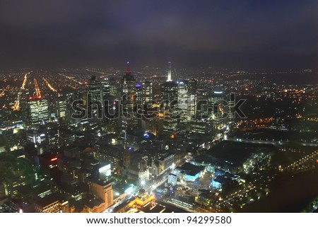 Melbourne night view - stock photo