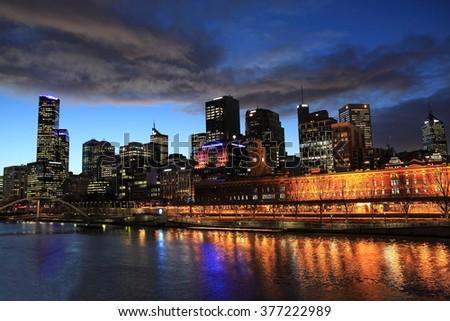 Melbourne night view Australia  - stock photo