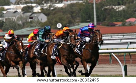 MELBOURNE NOVEMBER 6 - Samantha Miss (ridden by Hugh Bowman) takes the lead from Miss Scarlatti (Dwayne Dunn) on the way to winning the 2008 Oaks day at Flemington in Melbourne - stock photo