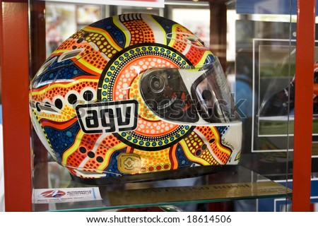 "MELBOURNE - OCTOBER 4: AGV Valentino Rossi ""Dream"" helmet at the MotoGP exhibition on October 4, 2008, Phillip Island, Melbourne Australia. - stock photo"