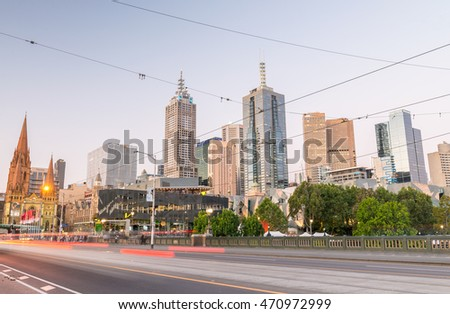 MELBOURNE - OCTOBER 2015: Beautiful city skyline over Yarra river at night. The city attracts 10 million tourists annually.