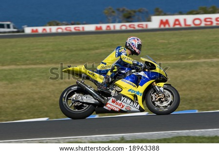 MELBOURNE - OCTOBER 4: Colin Edwards at the MotoGP race on October 4, 2008 on Phillip Island, Melbourne Australia. - stock photo
