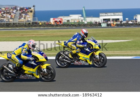 MELBOURNE - OCTOBER 4: James Toseland and Colin Edwards at the MotoGP race on October 4, 2008 on Phillip Island, Melbourne Australia. - stock photo