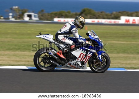 MELBOURNE - OCTOBER 4: Jorge Lorenzo at the MotoGP race on October 4, 2008 on Phillip Island, Melbourne Australia. - stock photo