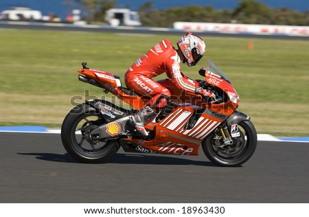 MELBOURNE - OCTOBER 4: Marco Melandri at the MotoGP race on October 4, 2008 on Phillip Island, Melbourne Australia. - stock photo