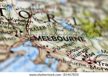 Melbourne on the map. - stock photo