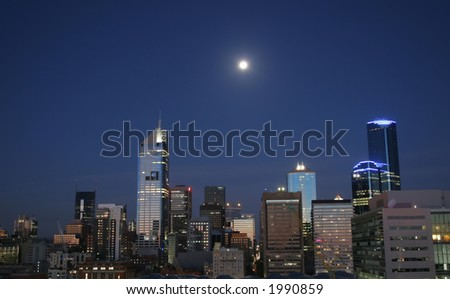 Melbourne's CBD at night. View from Doclands side. Photo taken from 16th floor. Photo taken at Melbourne (Australia) - stock photo
